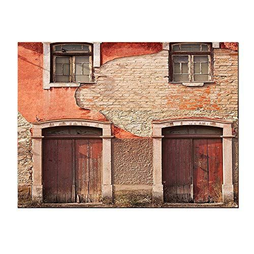 SATVSHOP Decoration paintings-32Lx24W-Rustic Abandoned Facade with Wood Windows and Doors in Portugal Damaged ust.Self-Adhesive backplane/Detachable Modern Art.