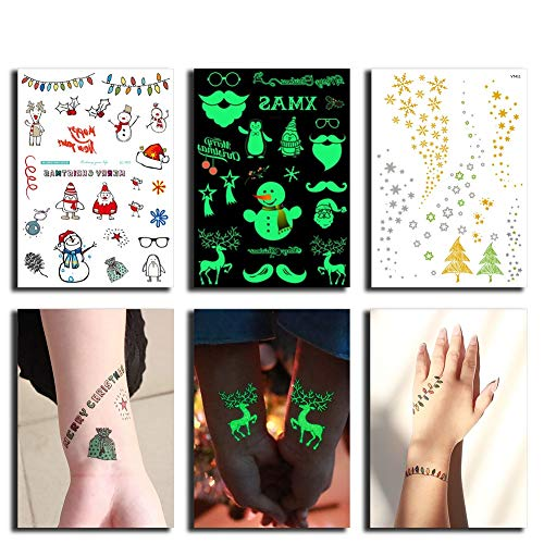 Christmas Temporary Tattoos Fake Tattoo for Kids, 3 in 1 Holiday Body Stickers Sheets (Christmas + Glow in the Dark + Golden) Party Favors Stocking Stuffers Gift for Children Boys & Girls (Halloween Decoartions)