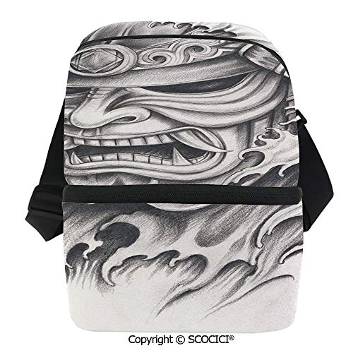 SCOCICI Cooler Bag Warrior Samurai Drawing Angry Expression Historical Figure Artwork Decorative Insulated Lunch Bag for Men Women for -