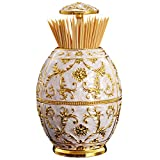 Aibearty Royal Vase Shape Automatic Golden Flower Print Toothpick Box Round Toothpick Dispenser Holder