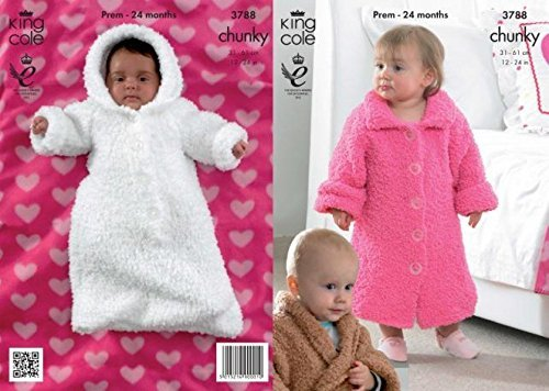 King Cole Baby Cuddles Chunky Dressing Gown & Sleeping Bag Knitting Pattern 3788 by King Cole by King Cole