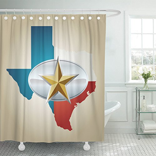 TOMPOP Shower Curtain Blue Texas Flag and State Shape Star Belt Buckle Waterproof Polyester Fabric 60 x 72 Inches Set with Hooks ()