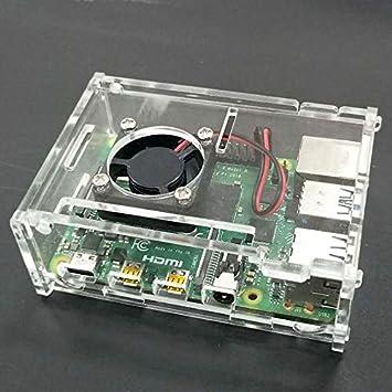 OUYAWEI - Carcasa de acrílico Transparente + Ventilador de CPU para Raspberry Pi 4 Modelo B: Amazon.es: Electrónica
