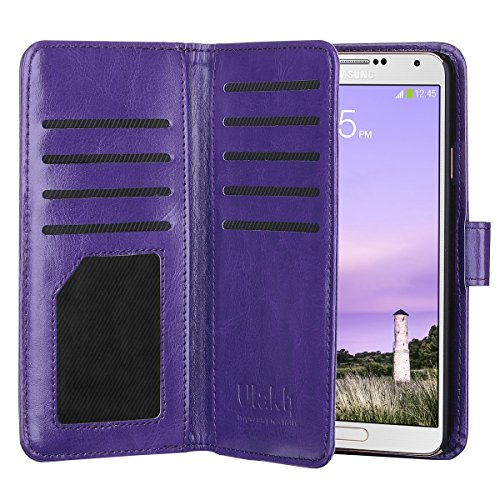 Note 3 Case, Galaxy Note 3 Case --ULAK Multi Card Slots Series PU Leather Magnetic Wallet Case Cover for Samsung Galaxy Note 3 III N9000 (Purple) (Purse Case Note 3)