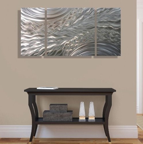 Mesmerizing Modern Etched Silver  Fusions of Gold Abstract   Metal