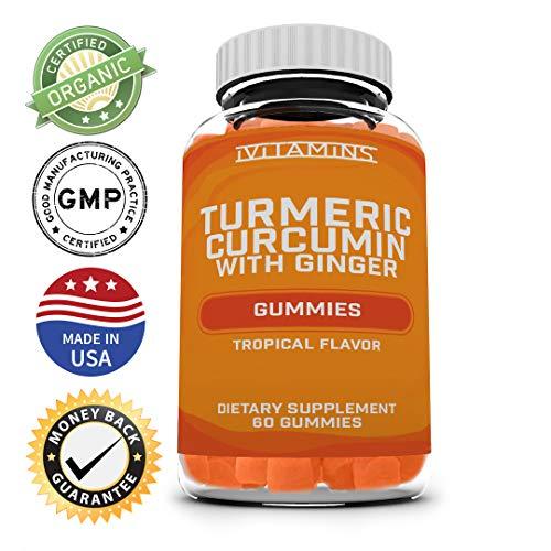 Turmeric Curcumin with Ginger Gummies :: Anti Inflammatory, Antioxidants, Allergy Relief :: Vegetarian, Vegan, Kosher & Halal Certified :: Gluten Free :: Non GMO :: Herbal :: 60 Count