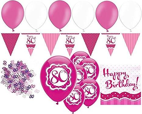 amscan 9901753 16 Servietten 80.Geburtstag Sparkling Celebration Schwarz//Pink