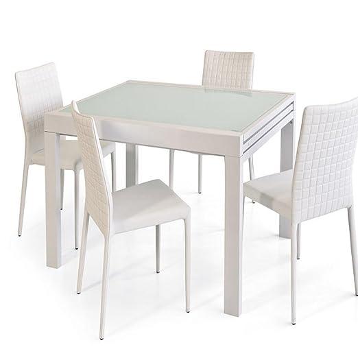 Trendy Italia - Mesa extensible (90/180 cm) de metal y cristal ...