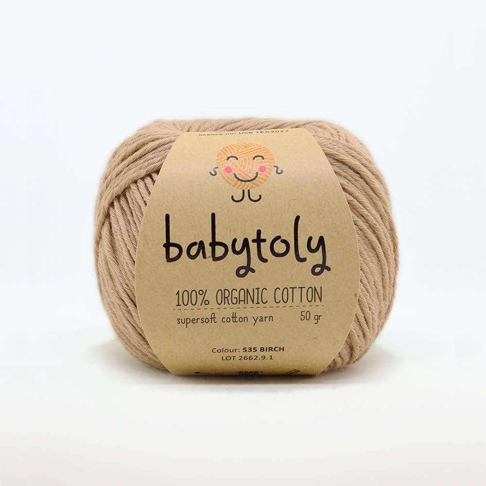 Ovillo de lana 100% algodón orgánico certificado GOTS para tejer a ...
