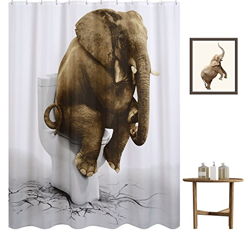 Funny Elephant Shower Curtain, Wimaha Printed P...