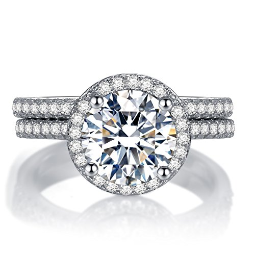 """""""Halo"""" Rings Set CZ Simulated Diamond Sterling Silver Solitaire Band Ring Size 6-9 – Romantic Gifts For Her"""
