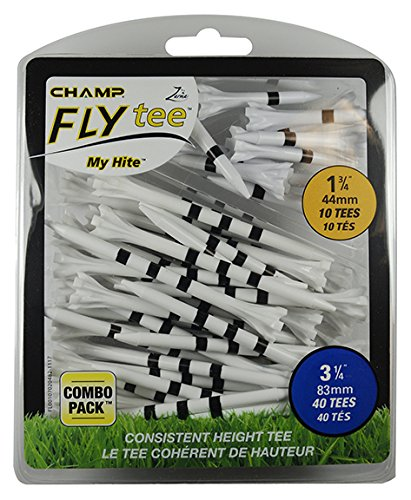 Champ 86505 Zarma Flytee My Hite 3-1/4 Combo Pack White with Black Stripes Golf Tees
