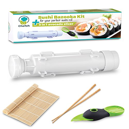 Chefoh All-In-One Sushi Making Kit | Sushi Bazooka, Sushi Mat & Bamboo Chopsticks Set + 3in1 Avocado Slicer | DIY Rice Roller Machine | Very Easy To Use | Must-Have Kitchen Appliance