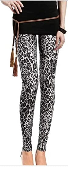 2c112d1043e3e Gray Spotted Leopard Print Leggings (One Size (S/M), Gray Spotted Leopard)  at Amazon Women's Clothing store: