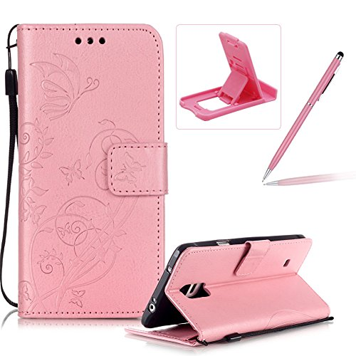 Strap Case for Samsung Galaxy Note 4,Wallet Leather Cover for Samsung Galaxy Note 4,Herzzer Classic Elegant [Pink Butterfly Pattern] PU Leather Fold Stand Card Holders Smart Phone Case for Samsung Galaxy Note 4 + 1 x Free Pink Cellphone Kickstand + 1 x Free Pink Stylus Pen