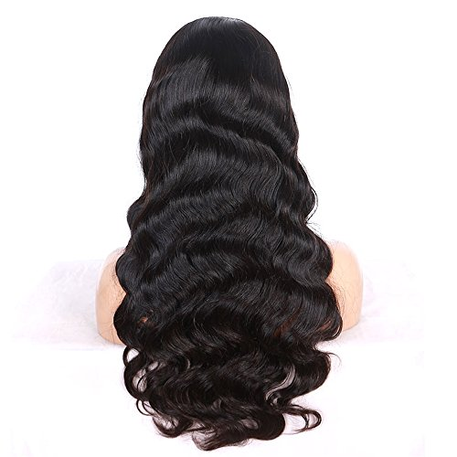 [Wig Company 100% Hand-Tied Lace Front 8A Brazilian Virgin Hair Real Human Wigs for Women Body Wave 130% Density 8 Inch 110g Peluca with Free Wig Cap and Comb, Natural] (70s Jewellery Disco)