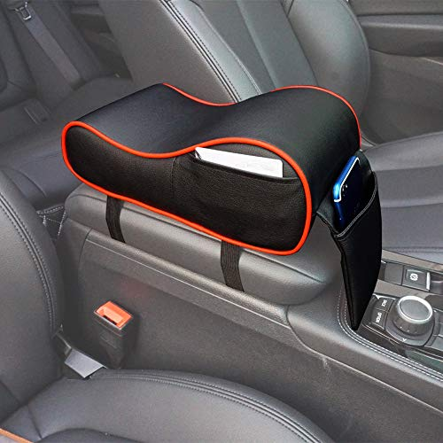 GSPSCN Center Console Armrest Pad Soft Memory Foam Pu Leather with Storage Pockets Seat Cushion (Black with Red)