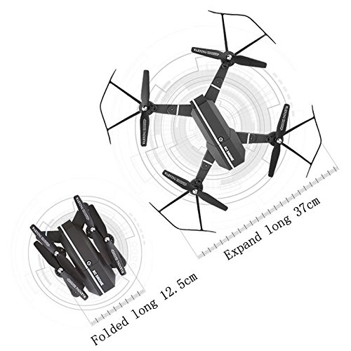 Remote Control Model Aircraft,2.4G 4CH Altitude Hold HD (300,000 Wifi Camera / 2 Million Wide-angle Camera) FPV RC Quadcopter Pocket Drone Selfie Foldable,One Key Start, Lifestyler,Battery