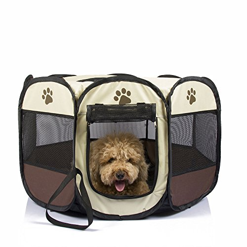 Mesasa Portable Foldable Pet Playpen, Indoor/Outdoor, Dog/Cat/Puppy Exercise pen Kennel, Removable Mesh Shade Cover, dog pop up silhouettes pet pen - Brown