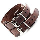 Outstanding Vintage Brown Wide Belt Style Genuine Leather Bracelet Cuff Bangle for Men (Adjustable, 52mm)