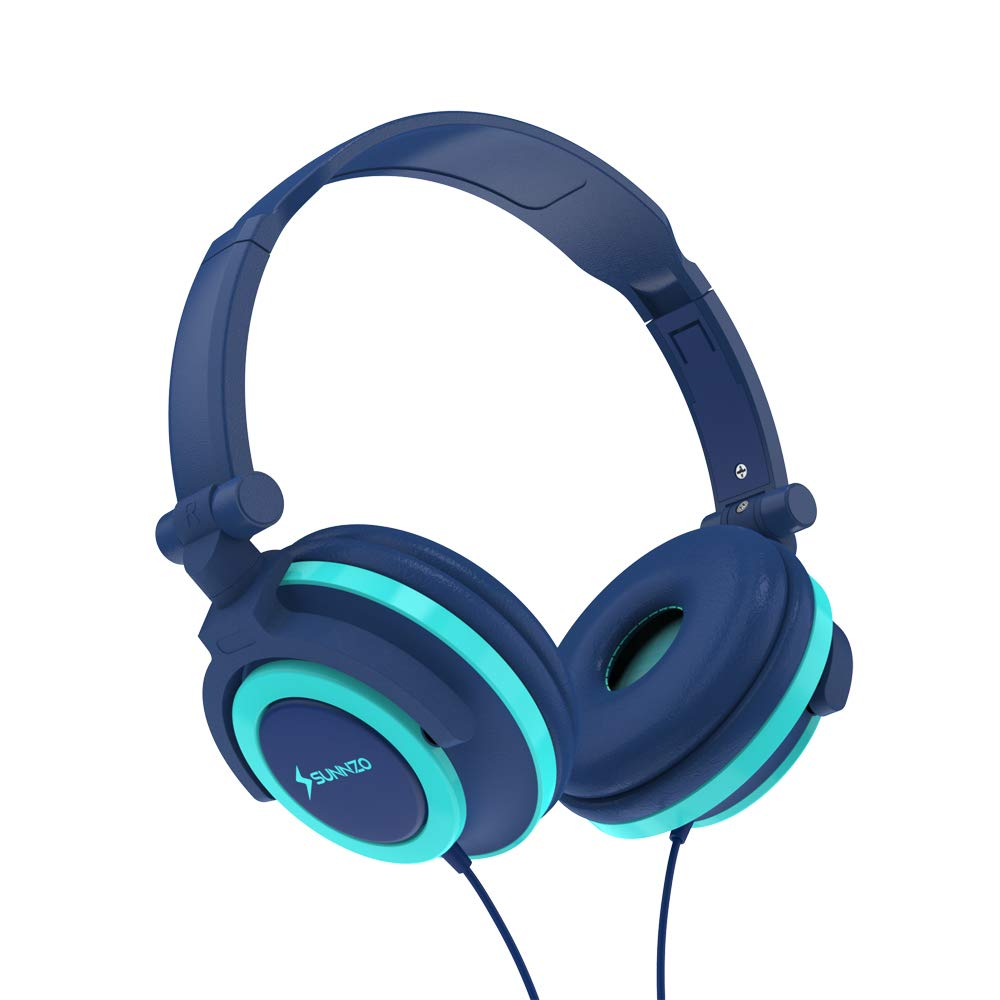 SUNNZO Kids Headphones with 85dB Volume Limited Hearing Protection,Made of Food Grade Material,BPA Free,Tangle-Free Cord, Wired On-Ear Headphones for Boys Girls Toddler Baby (Blue)