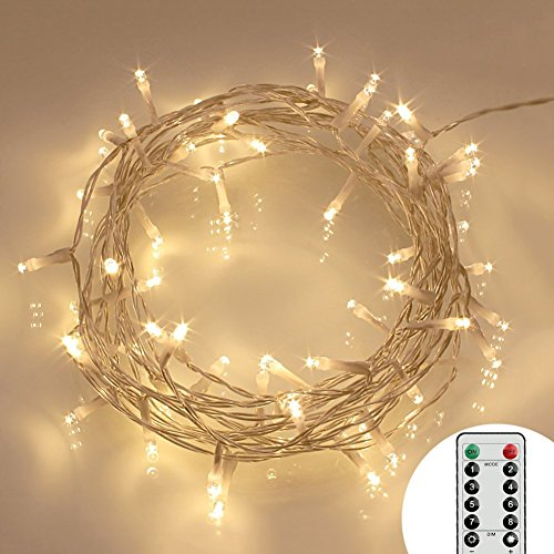 [Remote and Timer] 40 LED Outdoor Fairy Lights - 8 Modes Battery Operated String Lights (120 Hours of Lighting, IP65 Waterproof, Warm White) (With String Lights Timer)