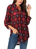 St. Jubileens Women Roll-Up 3/4 Sleeve Plaid Shirt Tunic V Neck Casual Pullover Blouses Tops Small Red