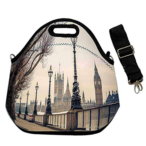 London Printing Neoprene Lunch Bag,Big Ben and Houses of Parliament the Riverside With Retro Lanterns Picture for Work Outdoor Travel Picnic,With Shoulder Straps(12.6''L x 6.3''W x 12.6''H)