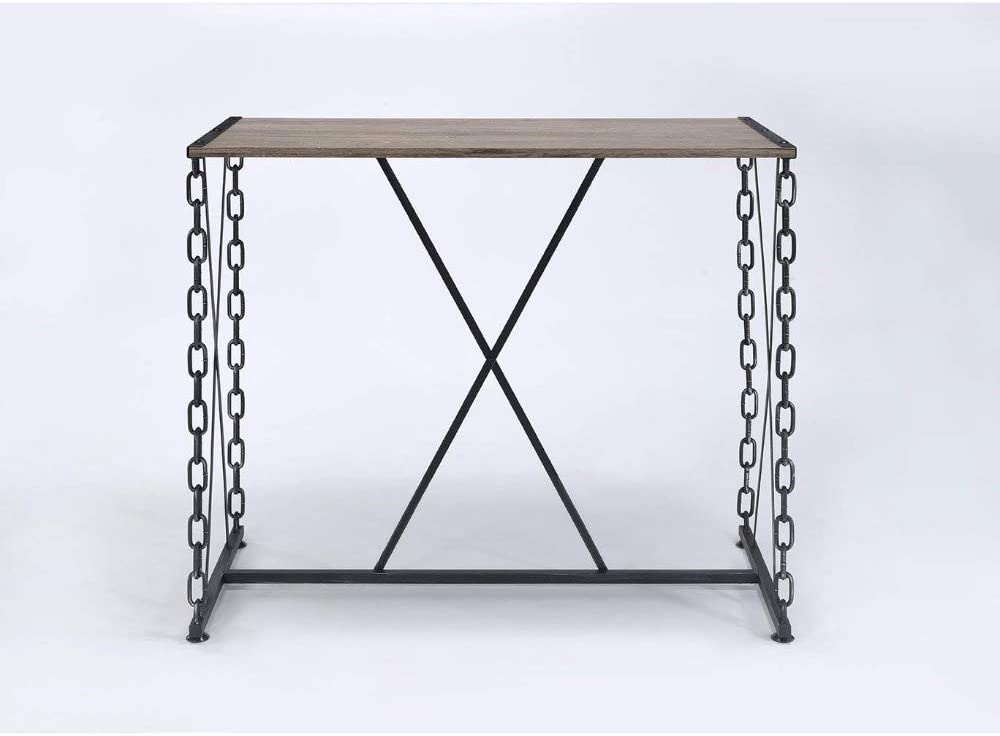Benjara , Black and Brown Wood and Metal Bar Table with Cross Panel Base