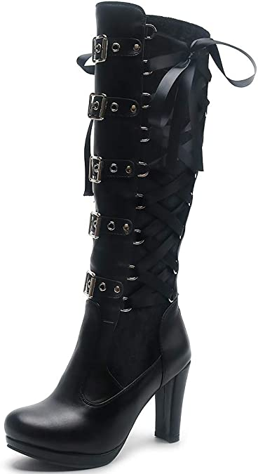 Details about  /Womens Wedge Heels Buckle Strap assorted colors punk  Knee High Boots