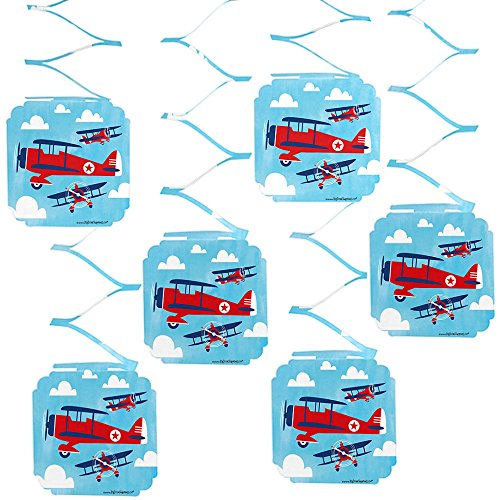 Big Dot of Happiness Taking Flight - Airplane - Vintage Plane Baby Shower or Birthday Party Hanging Decorations - 6 Count