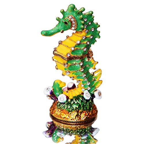 Waltz&F Mini Hippocampus Trinket Box Hinged Hand-painted Animal Figurine Collectible Ring Holder ()
