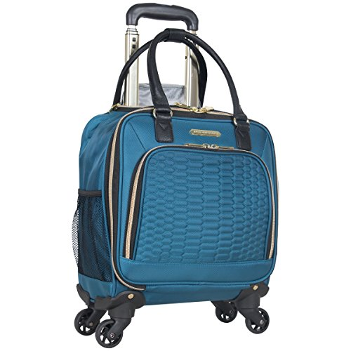 "Aimee Kestenberg Women's Florence 16"" Polyester Twill 4-Wheel Underseater Carry-on Luggage, Teal"
