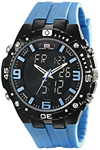 U.S. Polo Assn. Sport Men's US9175  Black Ana-Digi Watch with Blue Silicone Band