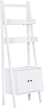 HOMCOM - Estantería escalera con 3 cajones, 1 armario de madera, color blanco, 65 x 40 x 180 cm: Amazon.es: Hogar