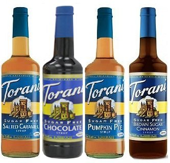 Torani SugarFree Winter 25.4 Ounce (4 Pack) SF Chocolate, SF Salted Caramel, SF Pumpkin Pie, SF Brown Sugar Cinnamon