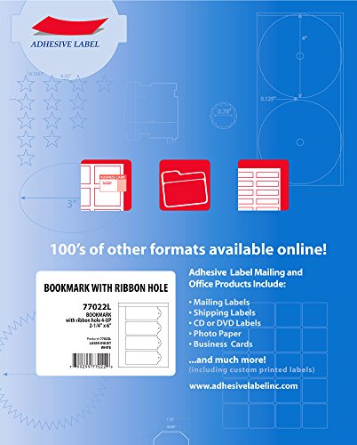 (Adhesive Label Blank Printable Bookmark Sheets 4-Up, 2-1/4 x 6 Inches, White, 100 Sheets, 4 per Sheet, 77022L )