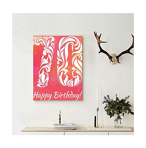 Liguo88 Custom canvas 70th Birthday Decorations Floral Detai