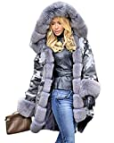 Roiii Plus Size Womens Military Hooded Warm Winter Coats Faux Fur Lined Parkas (Medium, Grey)