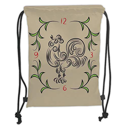 (New Fashion Gym Drawstring Backpacks Bags,Kitchen Decor,Rooster and Floral Art Decorative Clock Time Swirls Leaves Farm Animal Theme Decoration,Grey Green Soft Satin,Adjustable St)