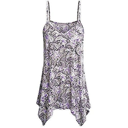 (COPPEN Summer Womens Tank Handkerchief Hem Flowy Top Print Spaghetti Strap Camisoles White)