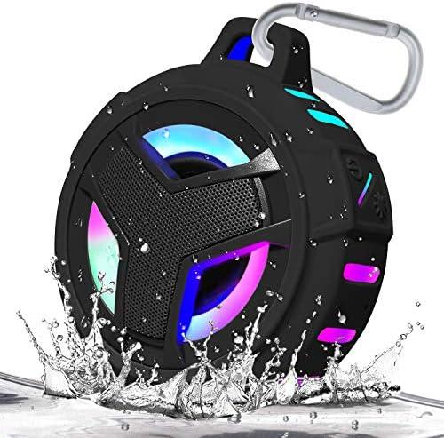 EBODA Bluetooth Bathe Speaker, Waterproof Moveable Bluetooth Audio system, IP67 Waterproof Outside Speaker Wi-fi with LED Mild, Floating, 2000mAh, TWS, Palms-Free for Bathe, Pool, Seaside, Bike -Black