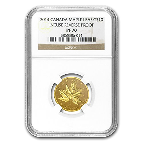 2014 CA Canada 1/4 oz Reverse Proof Gold Maple Leaf PF-70 NGC Gold PF-70 - 1/4 Pure Oz Proof Gold