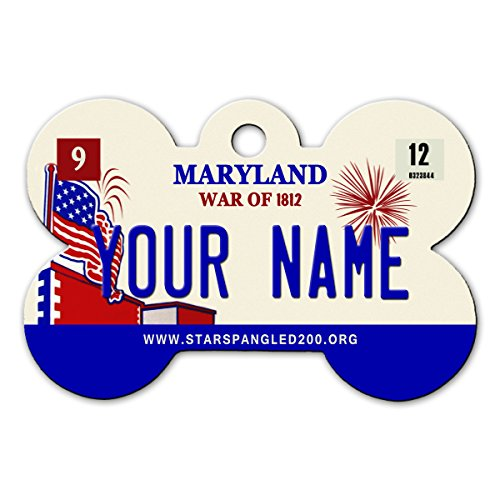 (BleuReign(TM) Personalized Custom Name 2016 Maryland State License Plate Bone Shaped Metal Pet ID Tag with Contact Information)