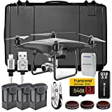 DJI Phantom 4 Pro Obsidian Drone Professional Executive Kit w/ Custom Wheeled Case, 3 Batteries, Triple Battery Charging Hub, Filters, 64GB Card, Remote Lanyard, Lens Filters, iPhone Cable and More