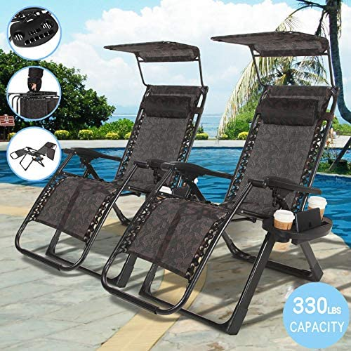 Zero Gravity Chair 2 Pack Recliner Seats Durable Textilene Fabric Backrest Sunshade Canopy Cup Holder Tray Folding Lounge Chair Handle to Carry for Travel Yard Beach Pool