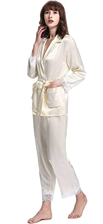 LilySilk Women s Cute Silk Pajamas with Lace V Neck 22 Momme Pure Silk  Beige Size 0 d3b163737