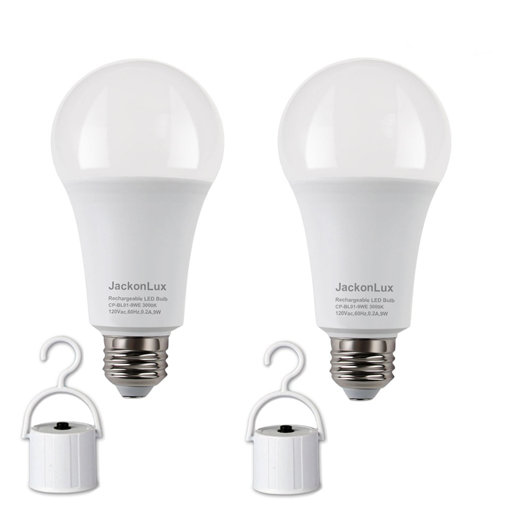 Rechargeable Emergency LED Bulb JackonLux Multi-Function Battery Backup Emergency Light For Power Outage Camping Outdoor Activity Hurricane 9W 850LM 60W ...