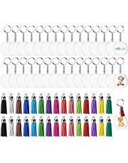 Susimond 120PCS Acrylic Keychain Blanks, Clear Circle Discs for Vinyl Kit, Includes 30pcs Acrylic Blanks, 30pcs Keychain Tassels, 30pcs Key Chain Rings and 32pcs Jump Rings for DIY Customise Crafts (Silvery Tassel)