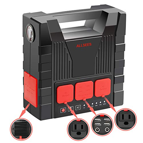 Portable Power Station, 220Wh Emergency Backup Lithium Battery, 110v/240v Max 300W Pure Sinewave AC Outlet, 12V DC Output with LED Light, Solar Generator for Outdoors Camping Travel Fishing Hun